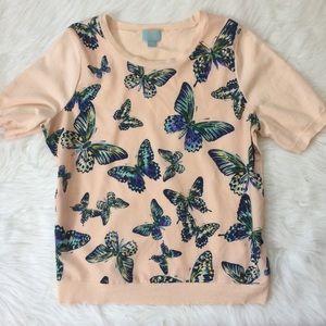 CeCe by Cynthia Steffe | Blush Butterfly Top sz L